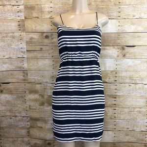 J Crew 100% Silk Blouson Striped Dress Size 2